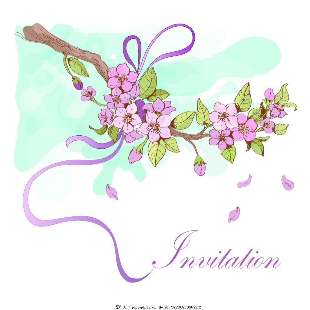 浪漫中国风桃花和风矢量背景 桃花 春天 春季 粉色 花瓣 植物 植物