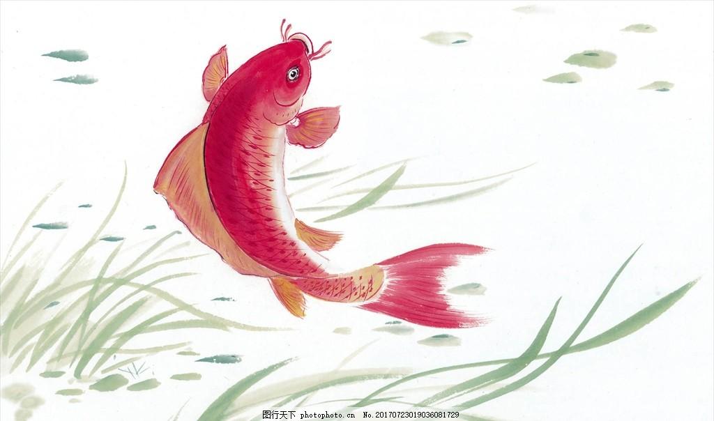 水墨画鱼 水墨动物 鸟语花香 水墨画 水墨风格 中国风 高清绘画 色彩