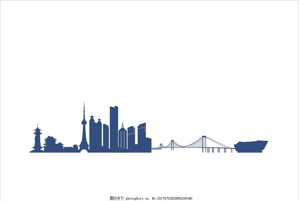 建筑物 房子 矢量图 城市剪影 高楼大厦 源文件 cdr格式 设计 底纹