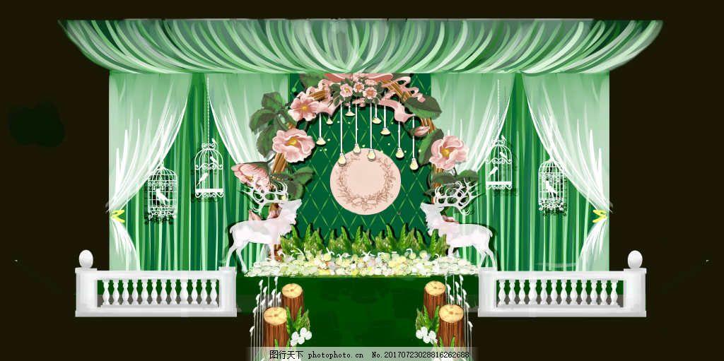 绿色森系舞台 吊顶 花