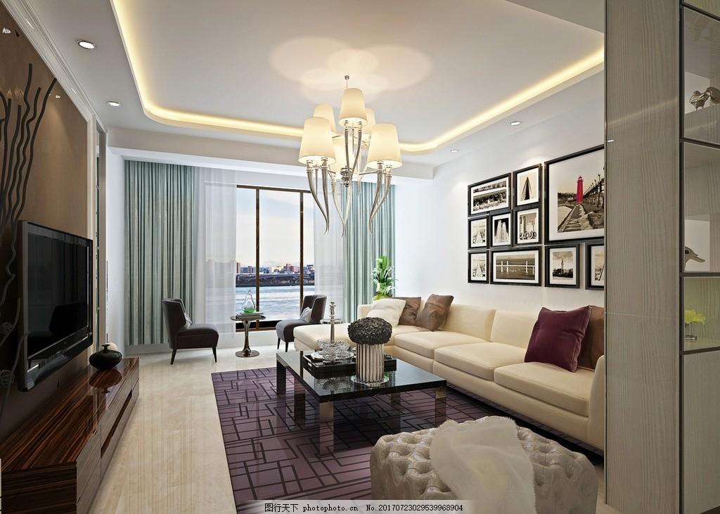 客厅 室内 装修效果图,房间装修图 家具摆设 吊灯装饰