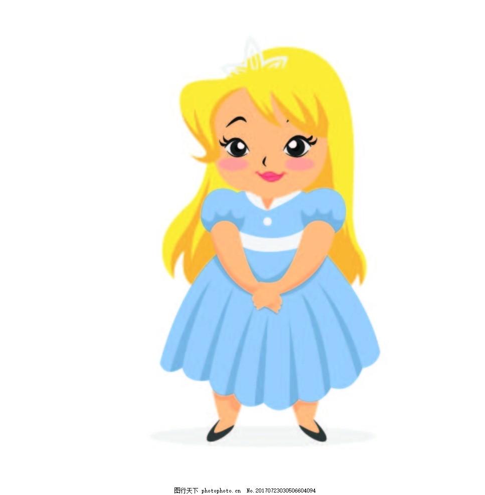 卡通小公主 动漫卡通 贺卡 插画 儿童绘本 儿童画画 矢量图 卡通漫画