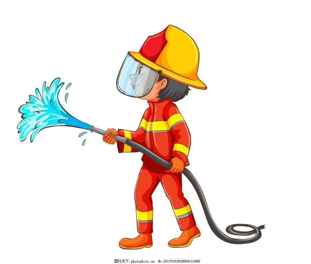 卡通消防员