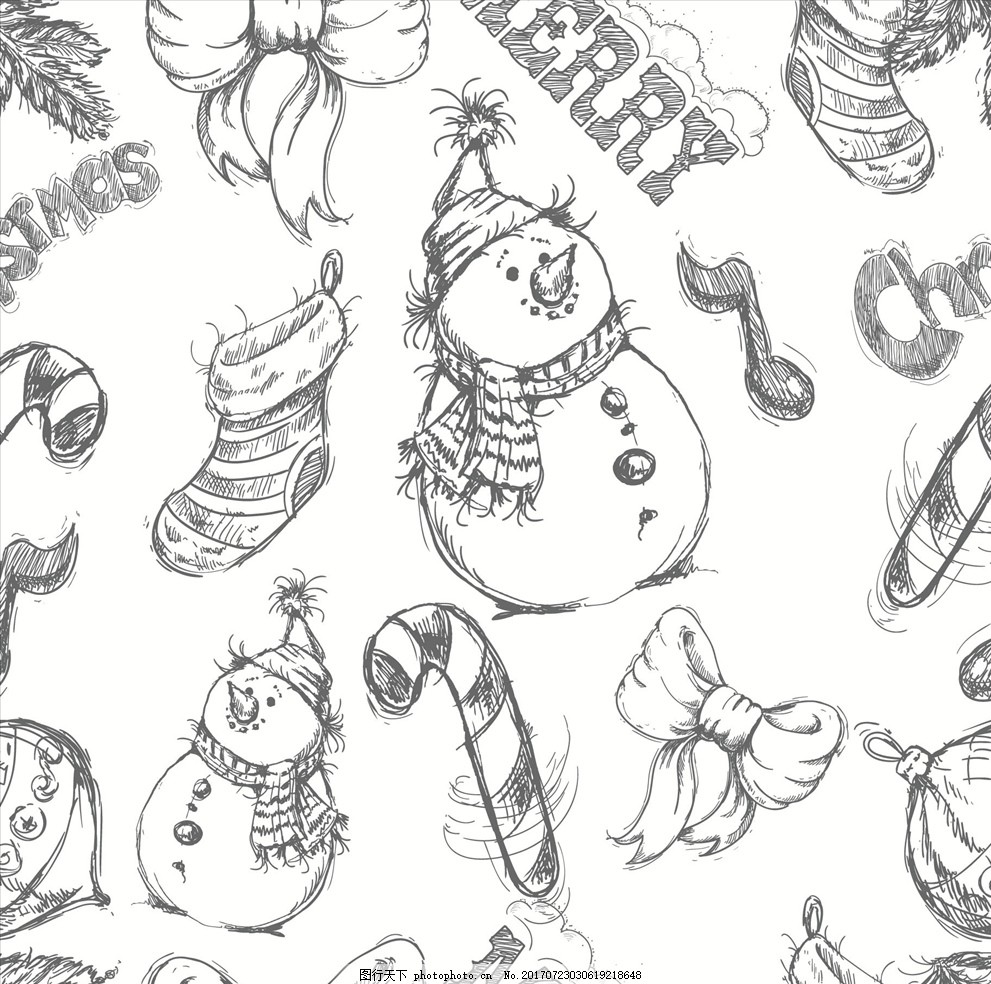 堆雪人四方连续底纹 服装设计 男装设计 女装设计 箱包印花 男装印花