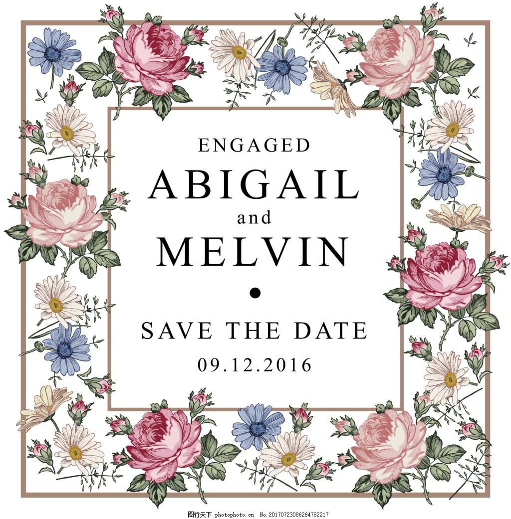 手绘粉色玫瑰花朵婚礼请柬矢量素材 素雅 浪漫 结婚 爱心 贺卡