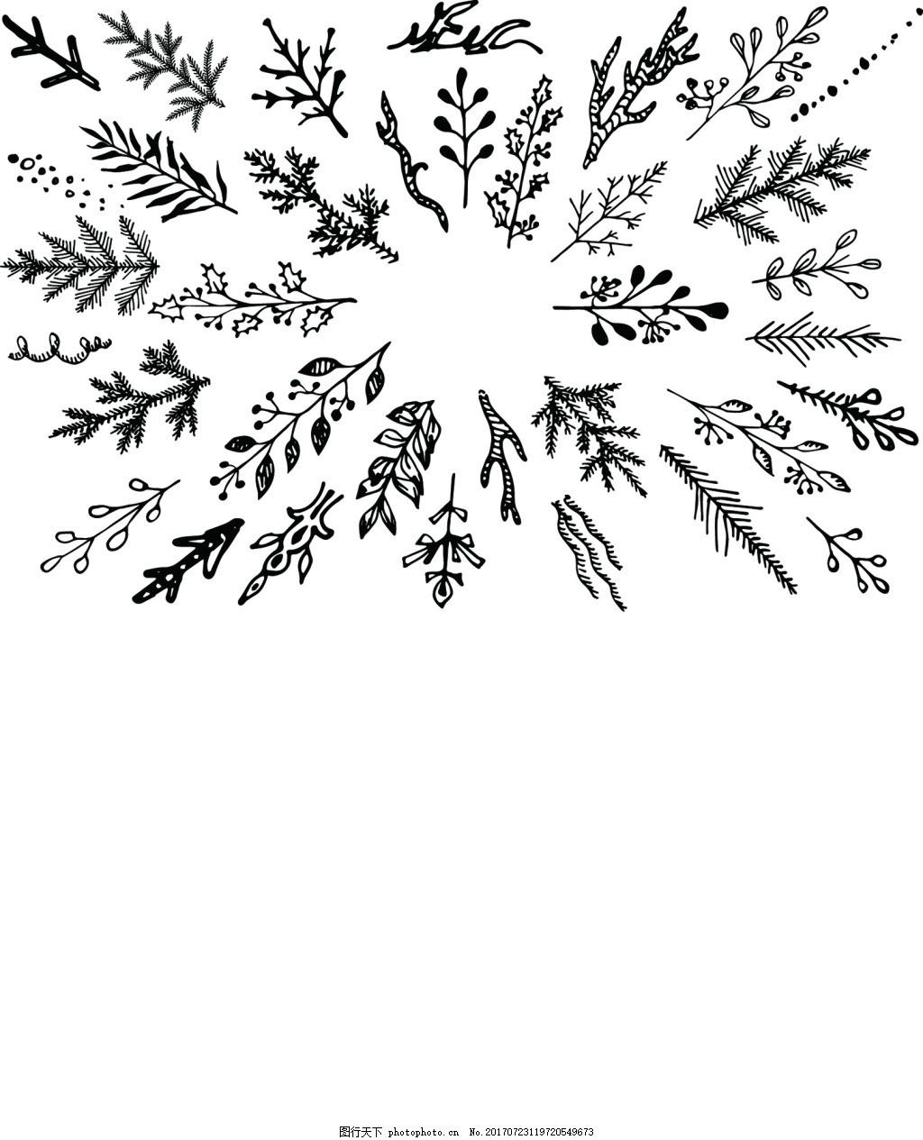圣诞节树枝横幅装饰素材 黑白线条 藤条 黑色 植物 节日 礼盒卡片