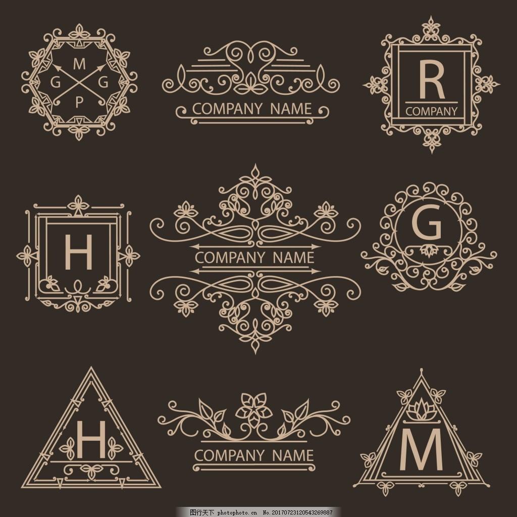 简约标签蒙版边框矢量素材 花纹 文艺 创意 黑色 线条 欧式 复古 图标