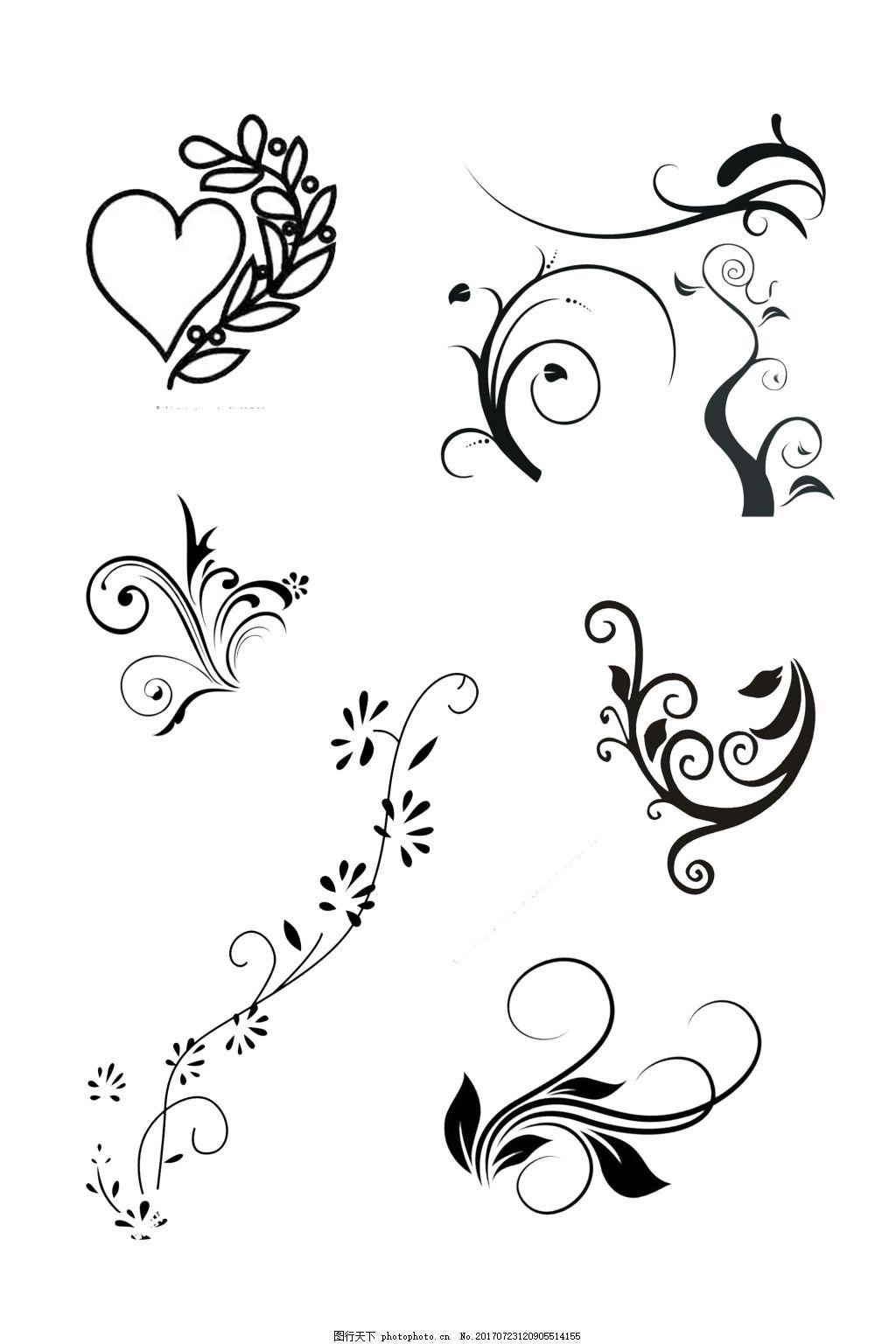 花纹线稿设计图 单色 墙绘 黑白 欧式花纹 花边 装饰花边