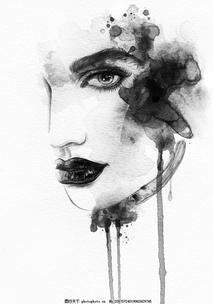 人物水墨画 艺术创作 创意设计 时尚女郎 香烟 抽烟 短发 面无表情