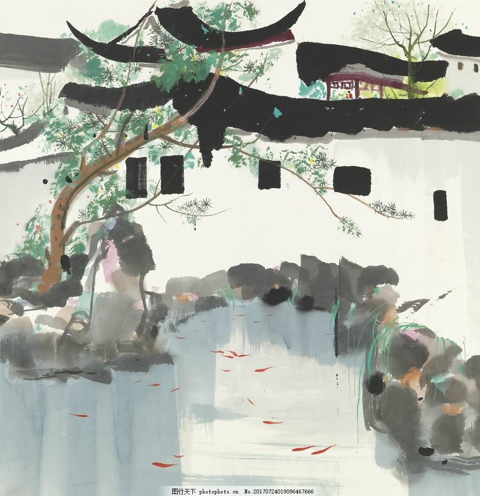 江南风景手绘图 彩铅