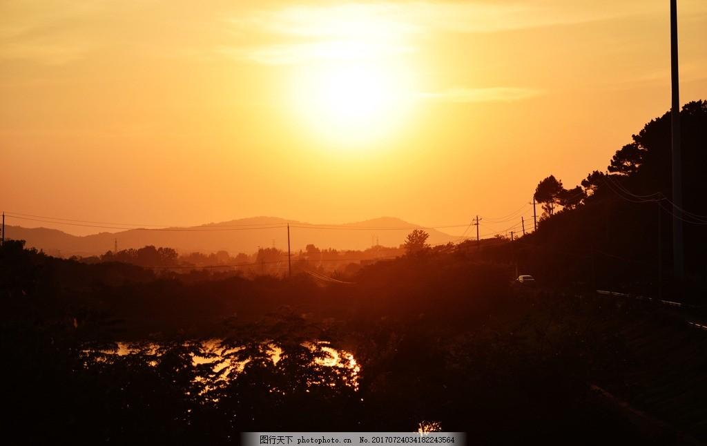 晚霞 暖色 山峰 夕阳 剪影 摄影 自然景观 自然风景 300dpi jpg