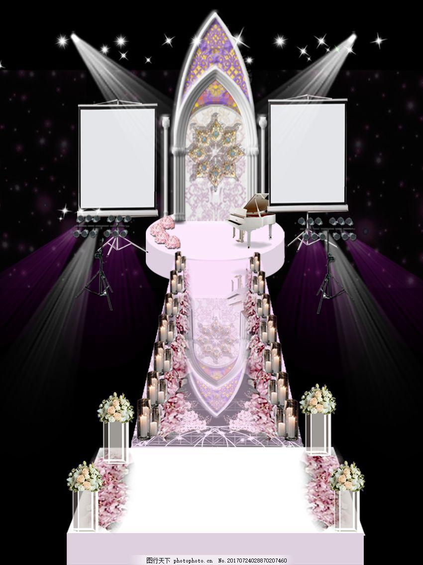 简约粉系婚礼效果图 亚克力 投影板 灯光 路引 电子蜡 玫瑰花