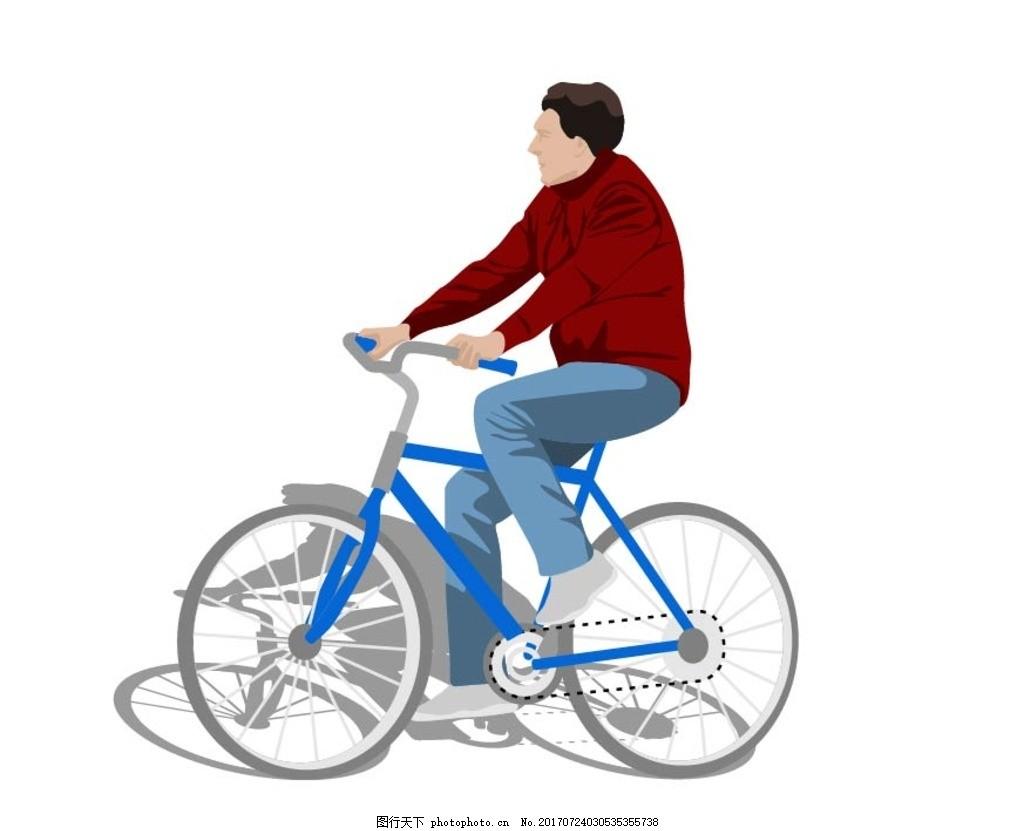 骑自行车 动漫卡通 贺卡 插画 儿童绘本 儿童画画 矢量图 卡通漫画