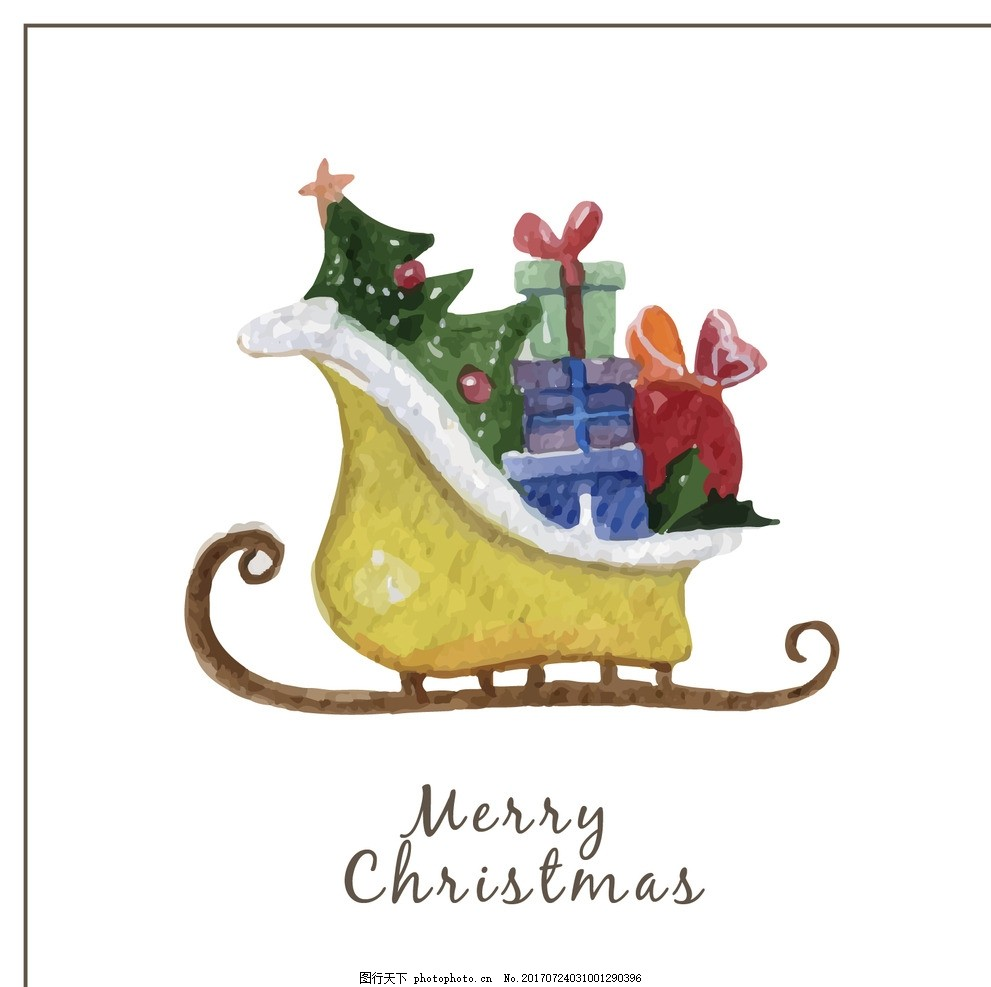 手绘圣诞老人卡片 圣诞节 水彩 礼品 圣诞快乐 冬季 油漆 快乐 圣诞