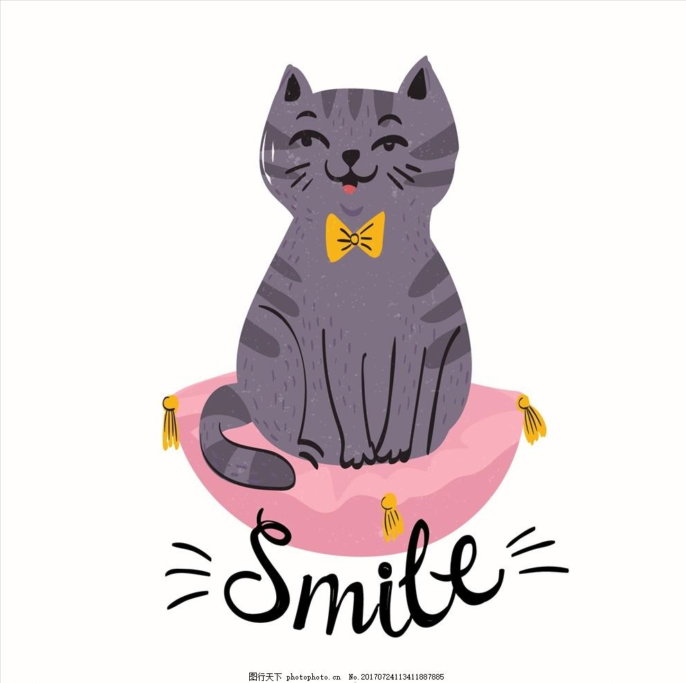 矢量图 卡通漫画 q版动物 猫 喵喵 可爱猫 可 爱的猫 猫儿 小猫 猫
