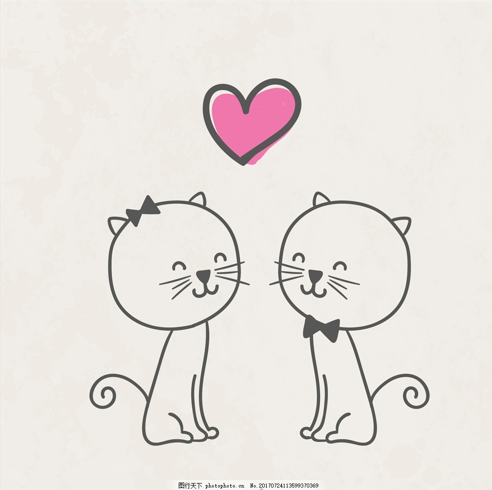可爱卡通矢量猫,扁平动物 贴纸 卡通猫 卡通设计 卡通