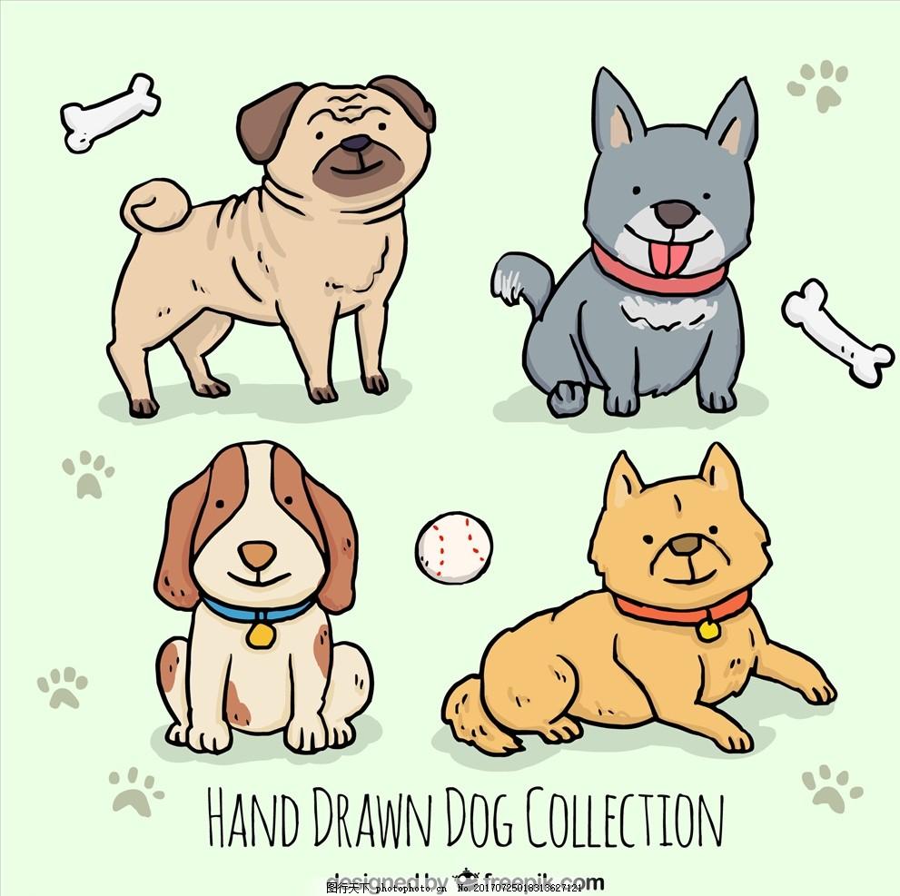 可爱卡通矢量狗 狗 可爱卡通狗 卡通狗狗 矢量小狗 2018年 狗年 狗