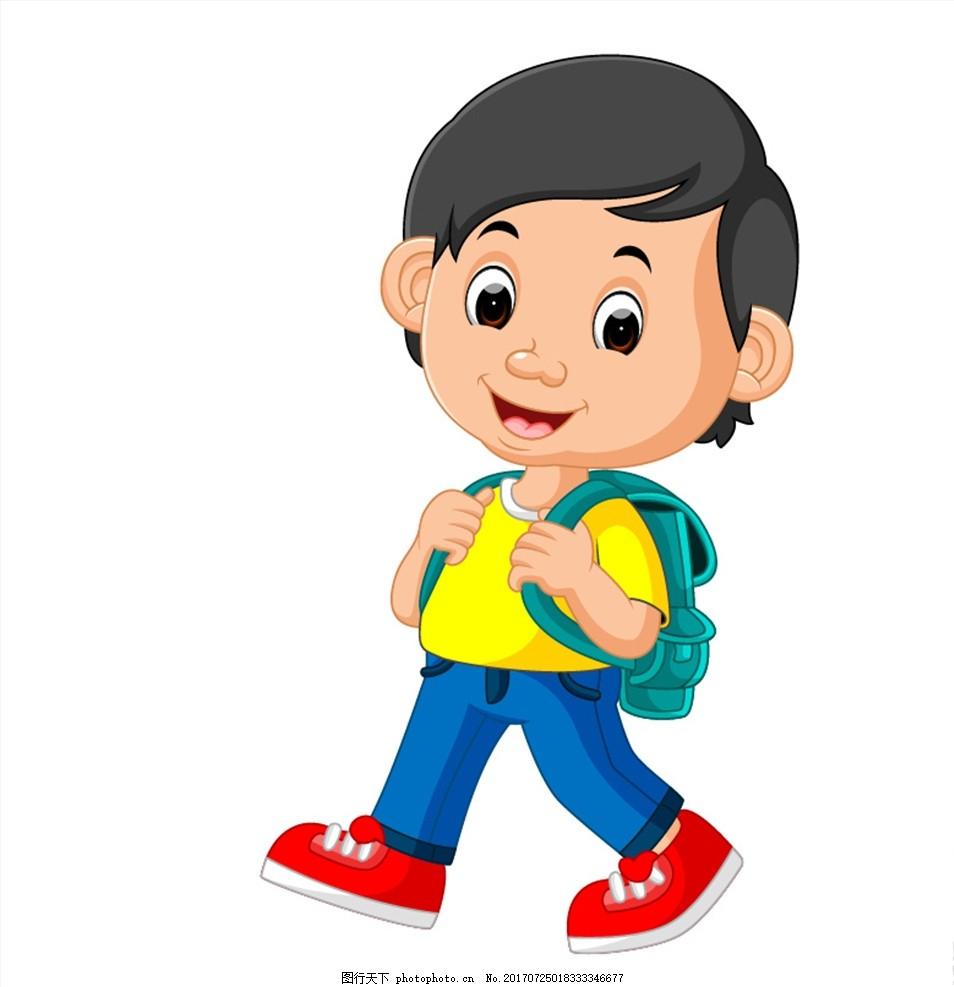 小男孩 卡通 人物 可爱 书包 上学 行走 读书 插图 漫画 设计 动漫