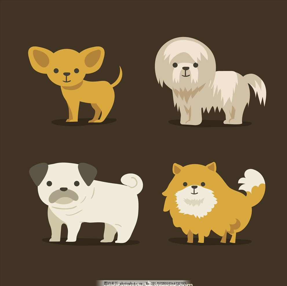 可爱卡通矢量狗