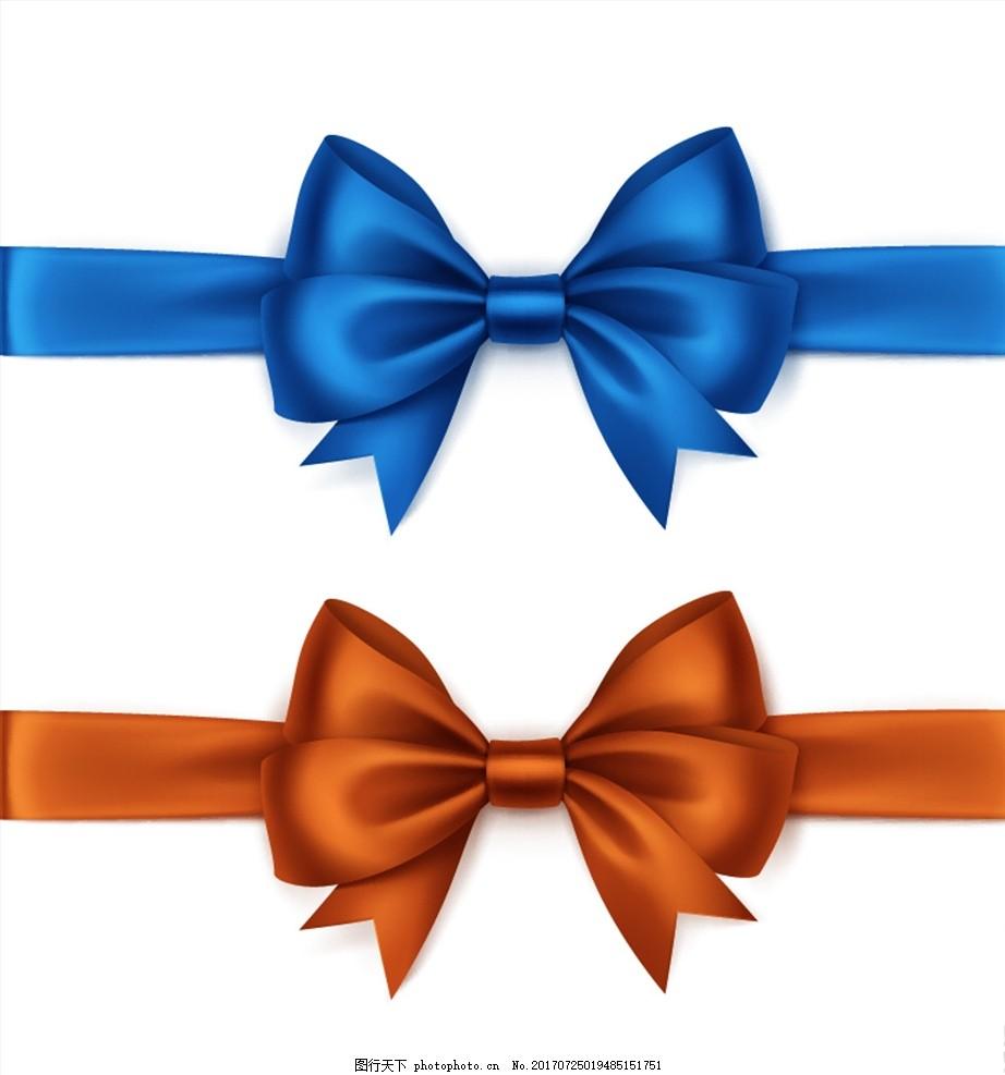 两只彩色绸缎丝带蝴蝶结矢量素材 蓝色 棕色 蝴蝶结 插图 绸缎 彩带