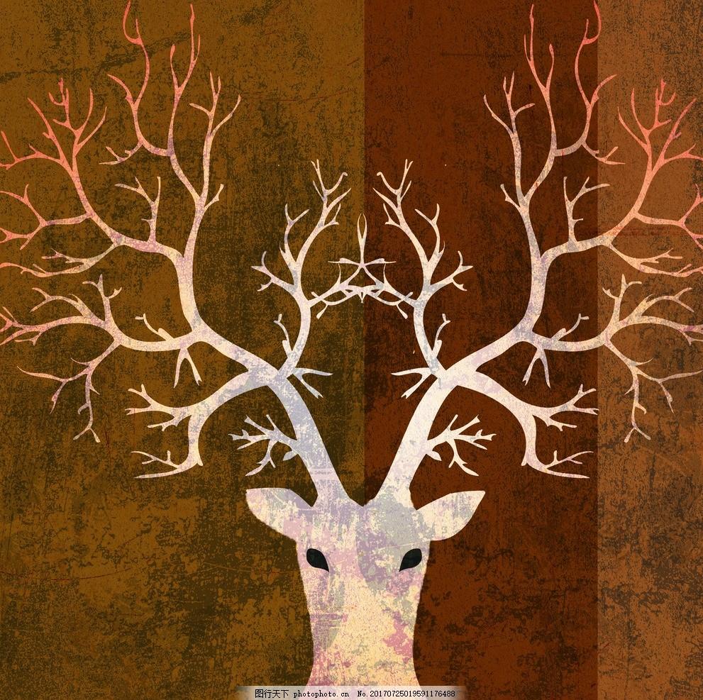 麋鹿 抽象 美式复古 装饰画 动物