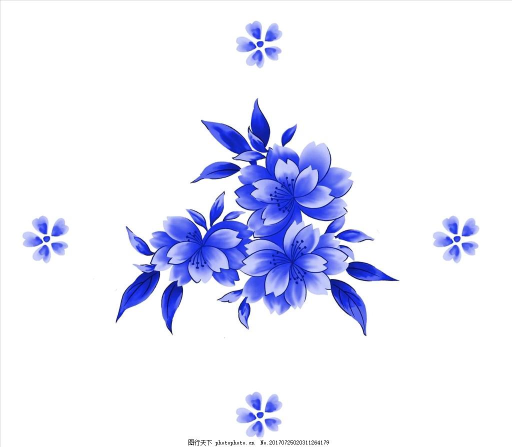 设计图库 底纹边框 花边花纹  青花瓷图案 青花 青花瓷 艺术玻璃 青花