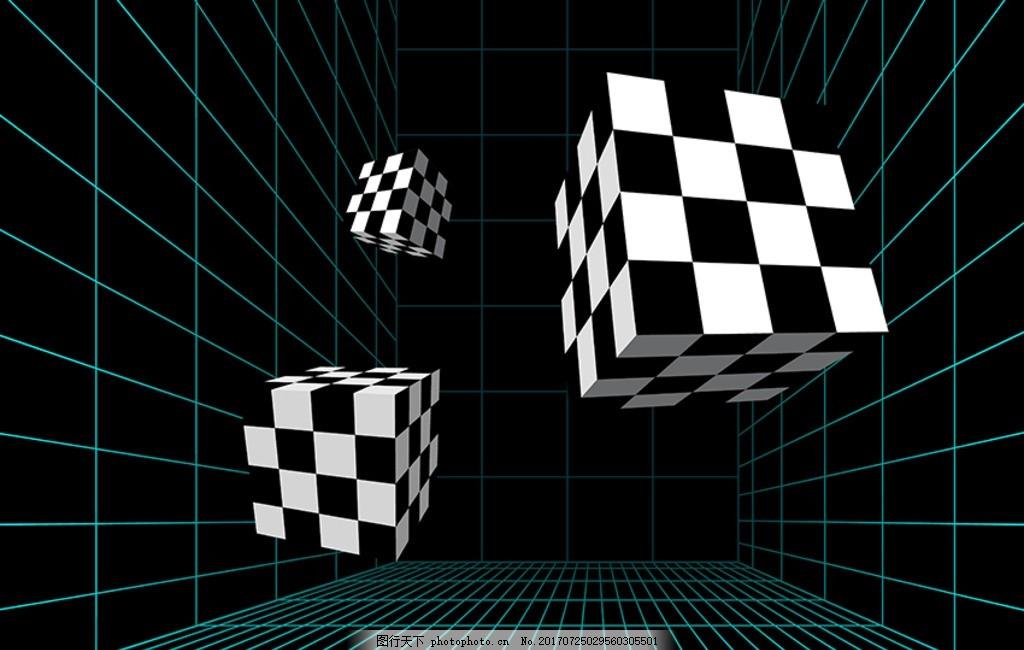 3d黑白格子 抽象背景 抽象艺术 黑色 方格格子 赛车 圆球 黑白旗