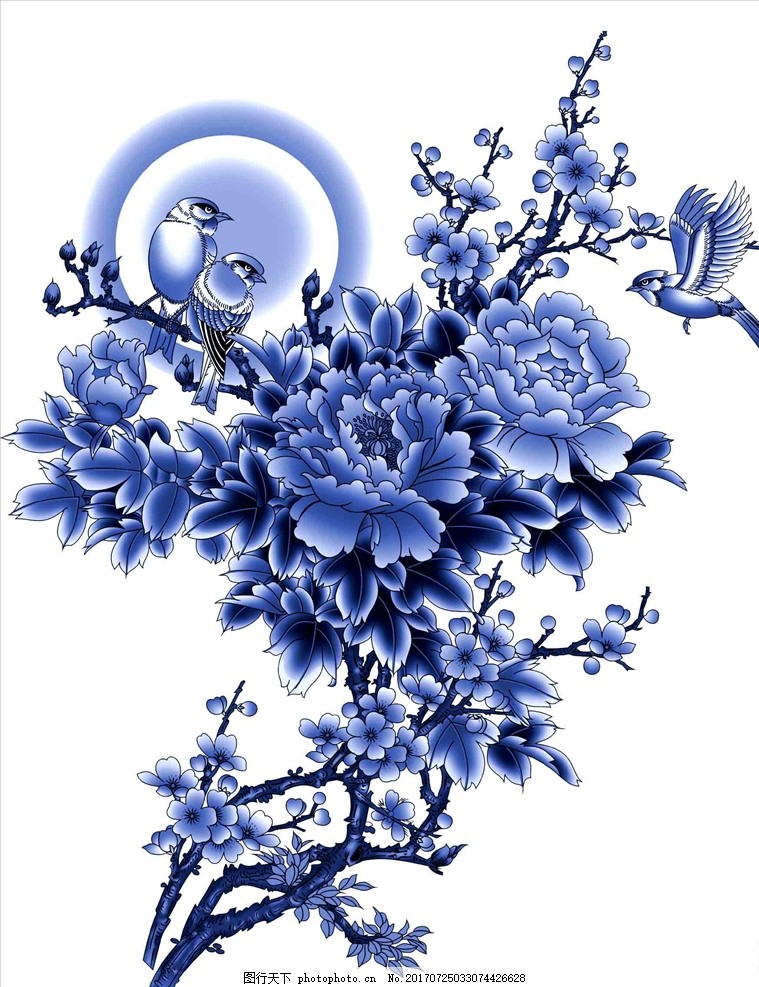 青花瓷图案 青花 青花瓷 艺术玻璃 青花瓷玻璃 玻璃贴画 移门图案