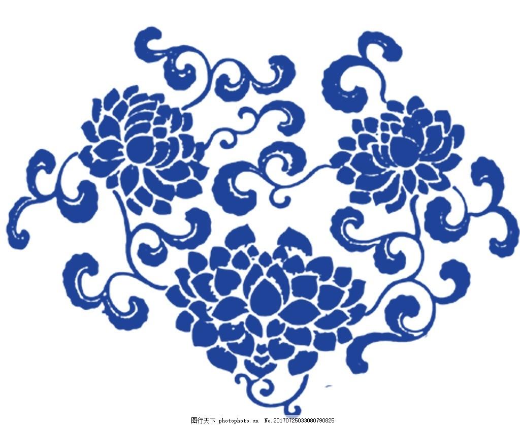 青花瓷图案 中国画 水墨画 新中式 psd分层素材 青花瓷 图案花纹 设计