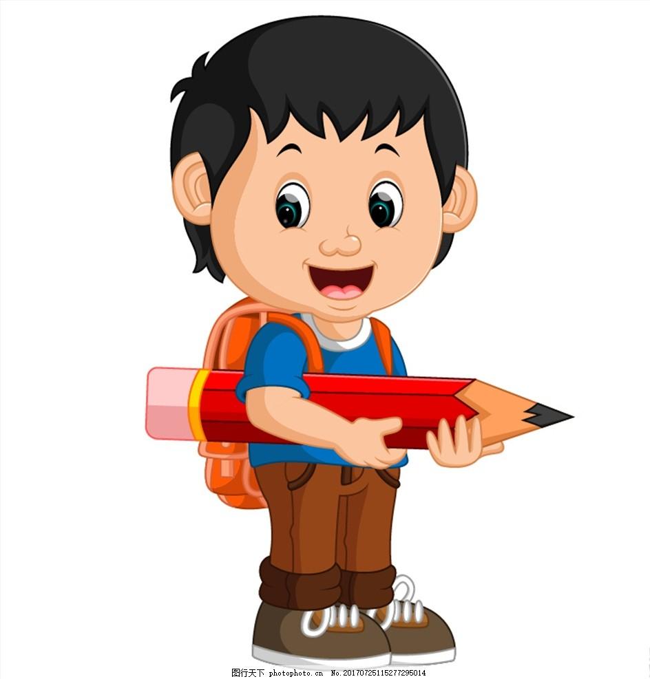 背着书包拿着铅笔的小男孩 孩子 男孩 学生 卡通人物 可爱 书包 铅笔