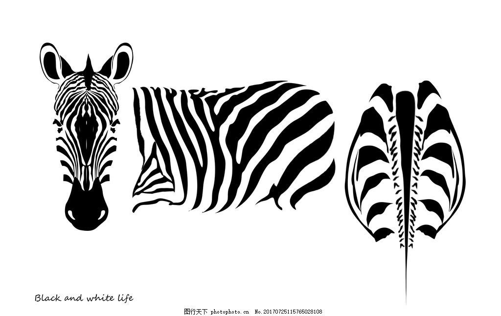 抽象斑马 黑白 装饰画 动物 北欧 现代简约 文化艺术 其他