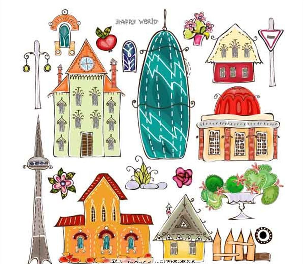 手绘建筑 手绘路灯 手绘房屋 手绘教堂 城市 自然 环境 设计 动漫动