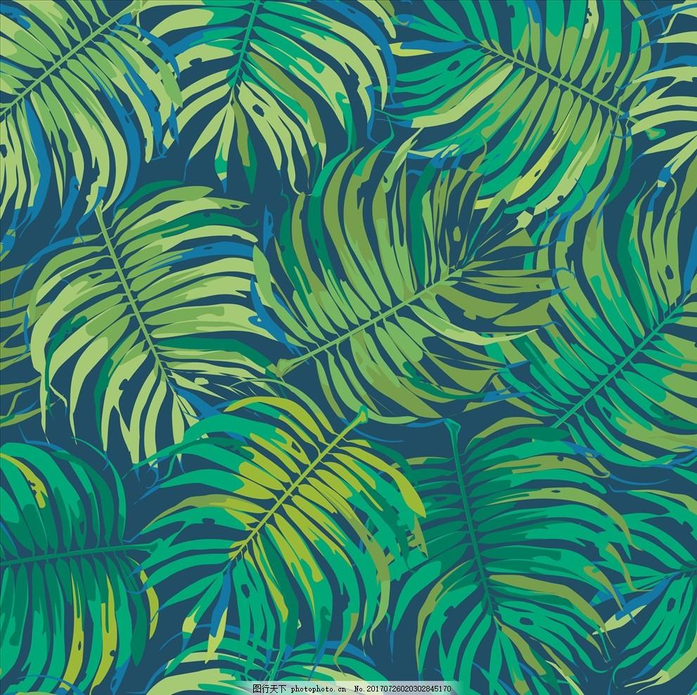 手绘热带植物花卉动物图案矢量素