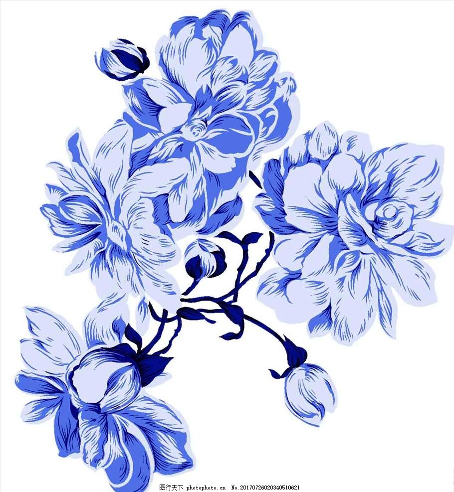 陶瓷 官窑 青花花鸟小罐 青花牡丹 牡丹花 国画 纹样 设计 底纹边框