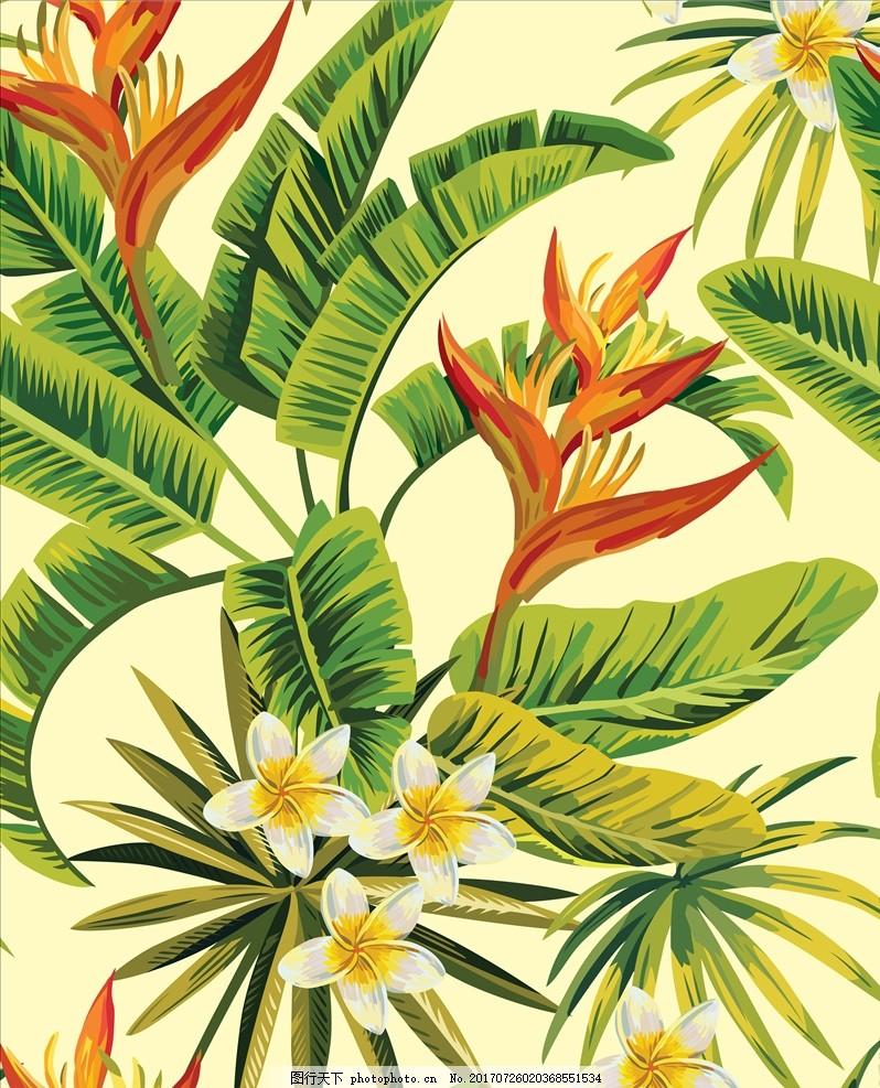 手绘热带植物花卉图案矢量素 叶子 绿叶 树叶纹路 树叶底纹 树叶背景