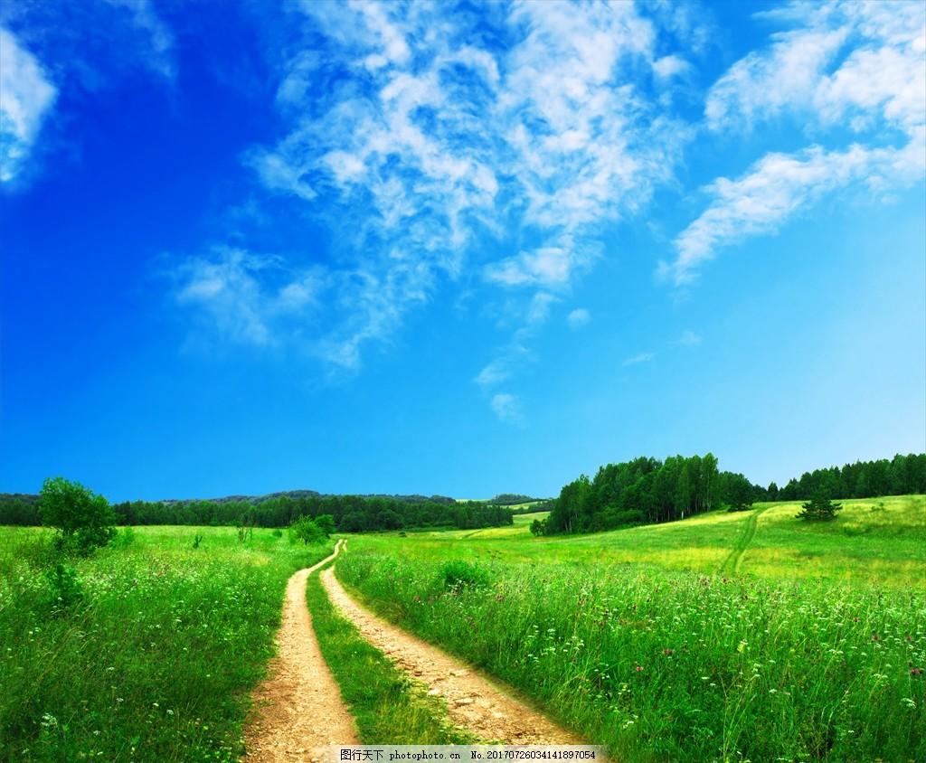 蓝天草原小路 蓝天 白云 草原 小路 青草 山坡 自然风景 摄影 自然