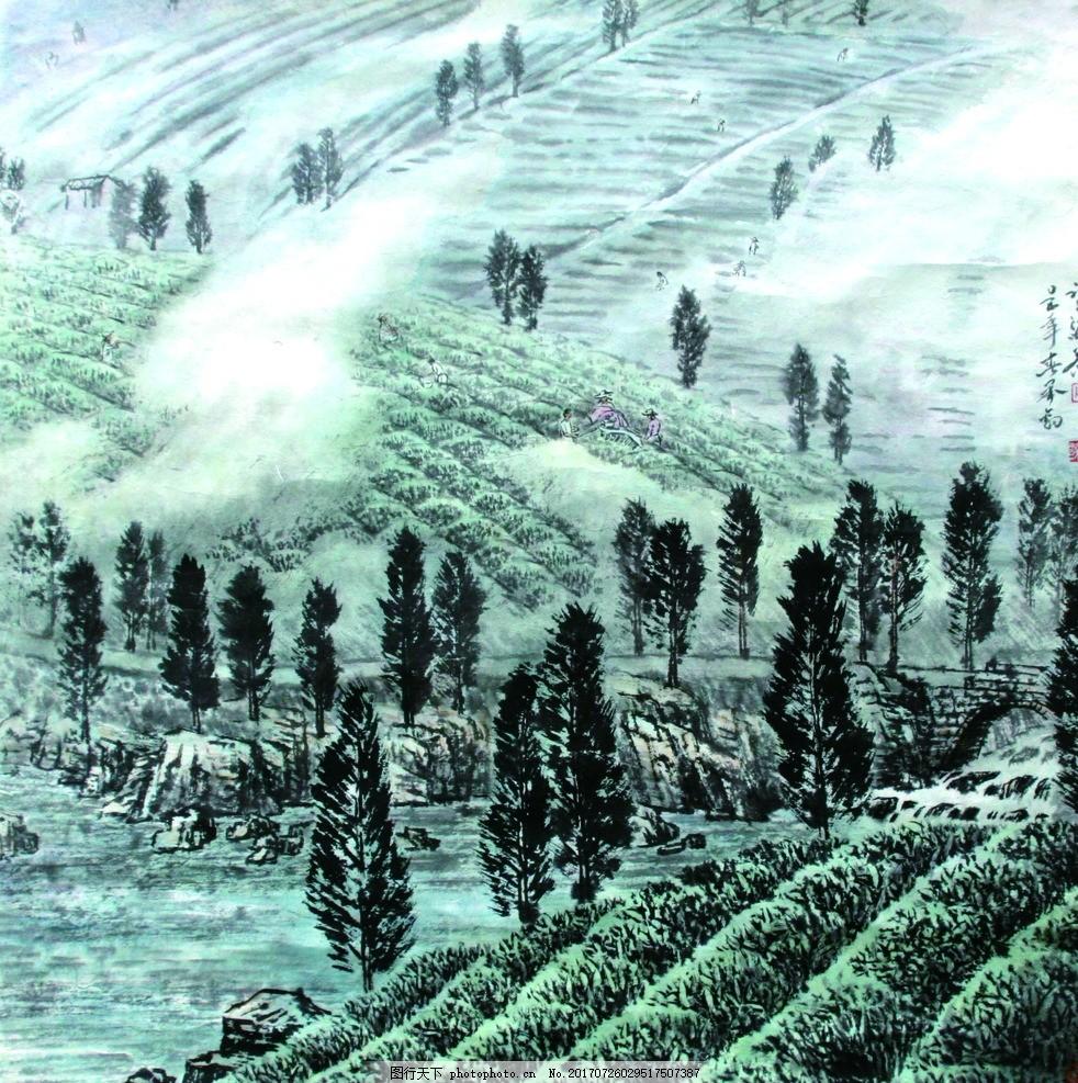 茶山水墨画图片