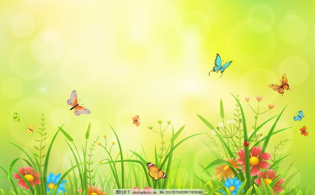 花草背景 春天花草背景 蓝天白云 生机勃勃 蝴蝶 鲜花 青草 草地 唯美