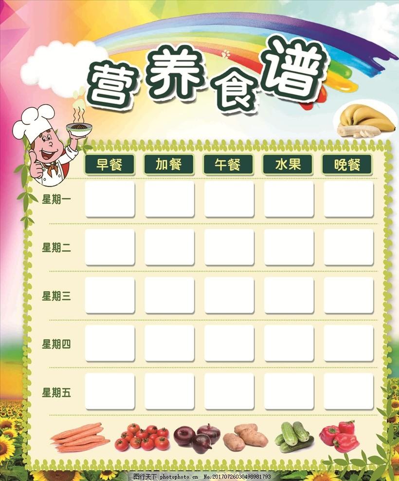 营养食谱 食谱 幼儿园食谱 食谱展板 幼儿园展板 向日葵 彩虹 卡通
