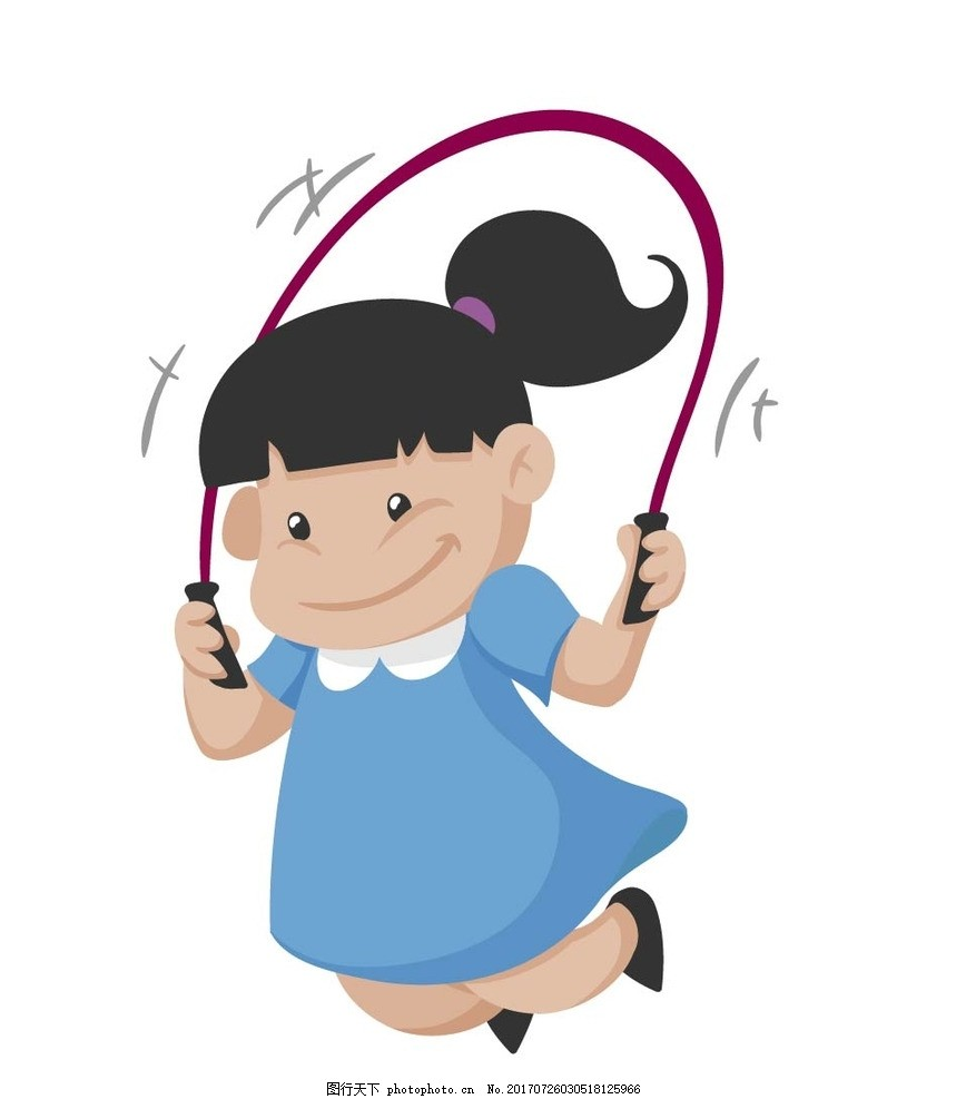 跳绳 动漫卡通 可爱 插画 儿童绘本 儿童画画 矢量图 卡通漫画 贴纸