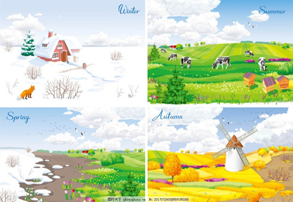 季节风景 春 夏 秋 冬 雪地 房屋 草地 动物 秋季 风车 卡通背景 插画