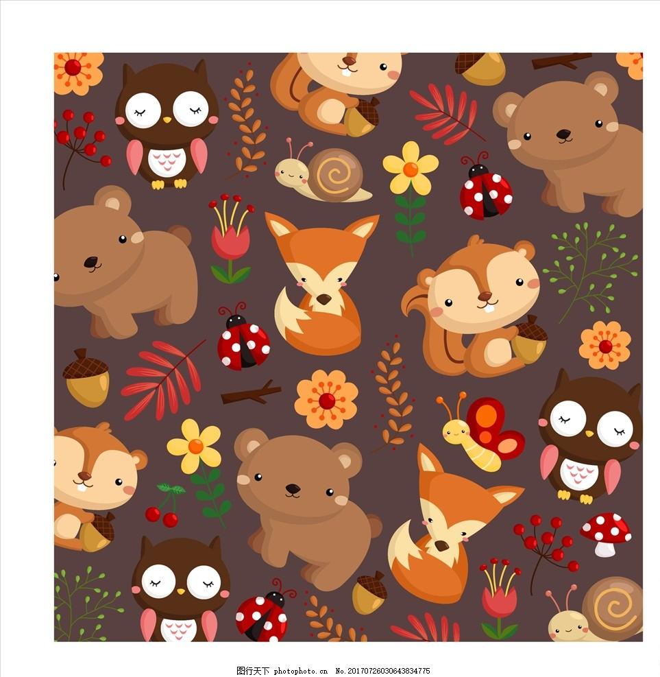 卡通形象 可爱卡通 童装卡通 小熊 卡通熊 棕熊 可爱卡通熊 小狐狸 红
