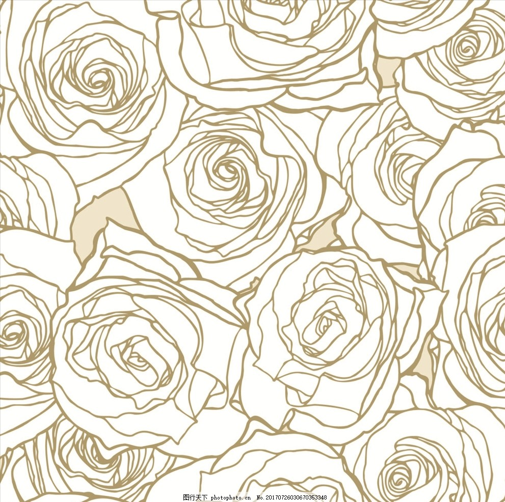 线描玫瑰花四方连续底纹