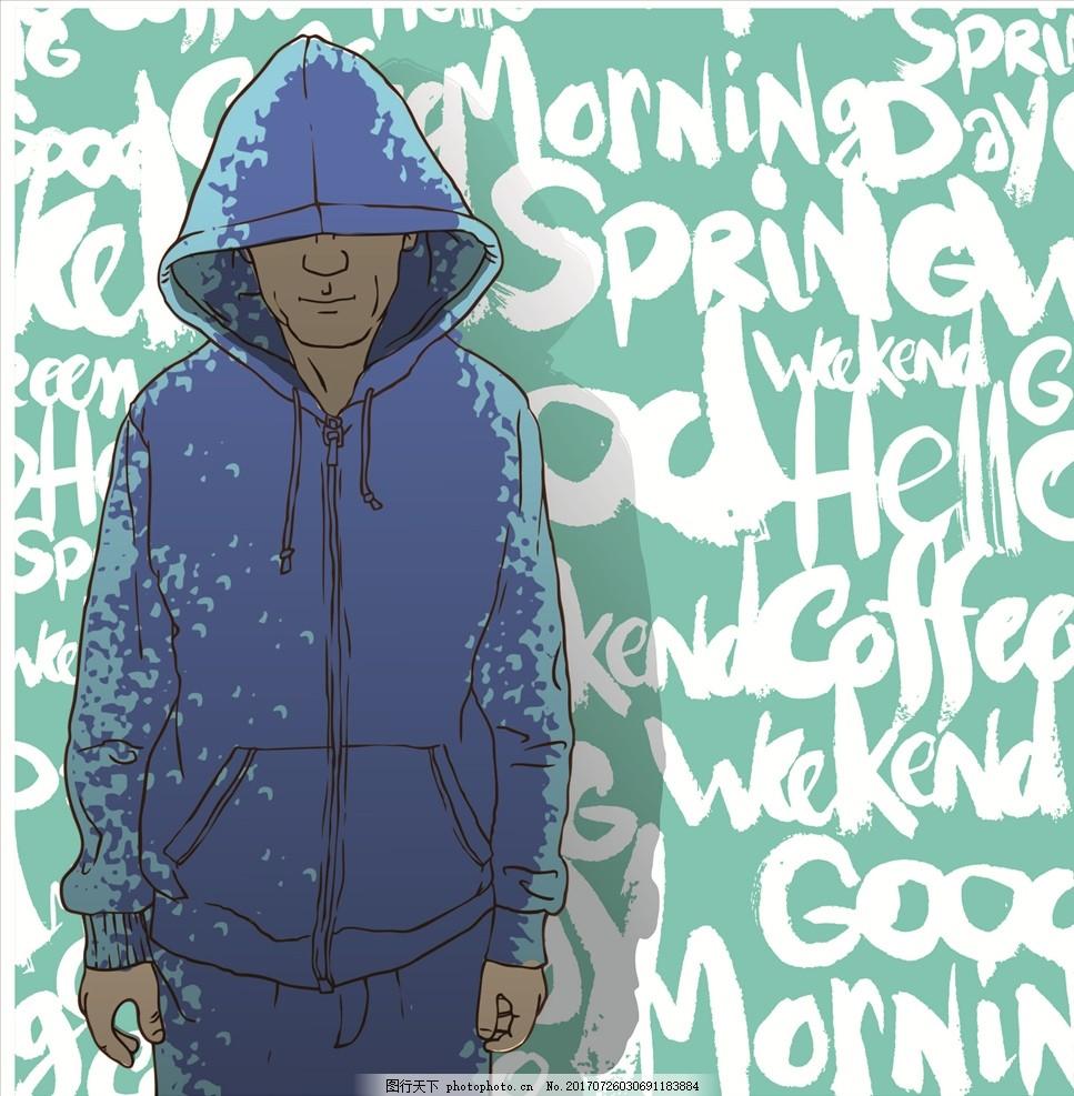 布料印花 贴纸图案 手绘人物 街头人物 卫衣 黑人 潮牌 涂鸦 涂鸦背景