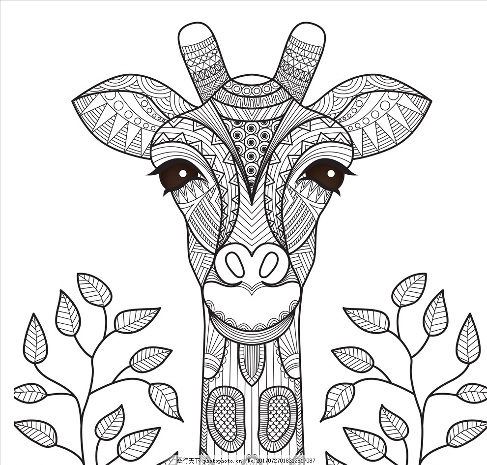 卡通可爱矢量长颈鹿 卡通长颈鹿 长颈鹿 动物插画 插画 儿童绘本 儿童