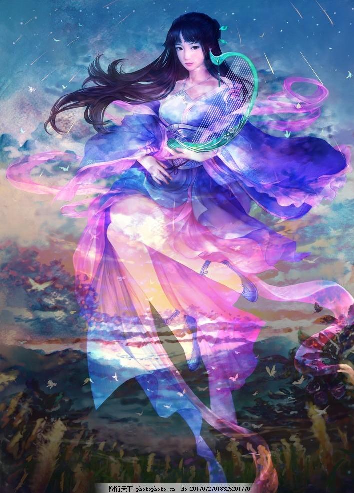 唯美仙女 大气 古典 唯美 古代 美女 梦幻仙女 古装 中国风 国画 清纯