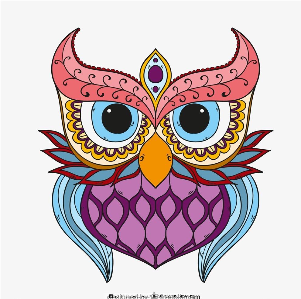 童装印花 潮流服装印花 潮牌设计 面料印花 布料印花 贴纸图案 猫头鹰