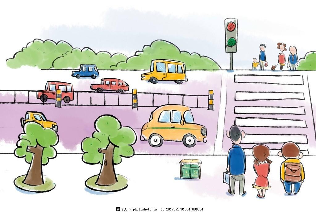文明 漫画 遵守交通规则 红绿灯 斑马线 设计 动漫动画 动漫人物 256