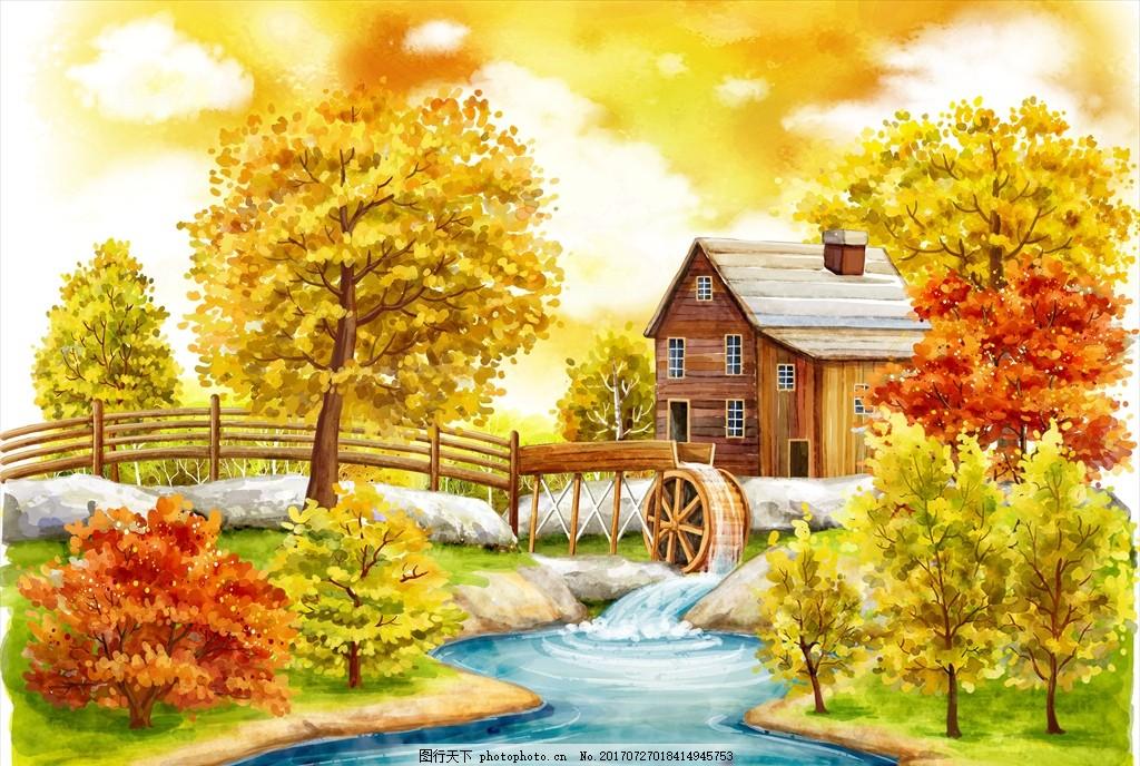 手绘水车风景 手绘风景 风景漫画 手绘树木 手绘psd文件 手绘自然风景