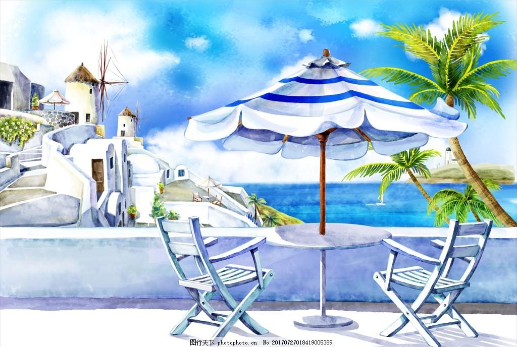 风景漫画 手绘建筑 手绘海滩建筑 城市 自然 环境 设计 动漫动画 风景